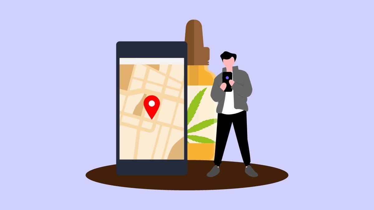Illustration of GPS direction to CBD Oil