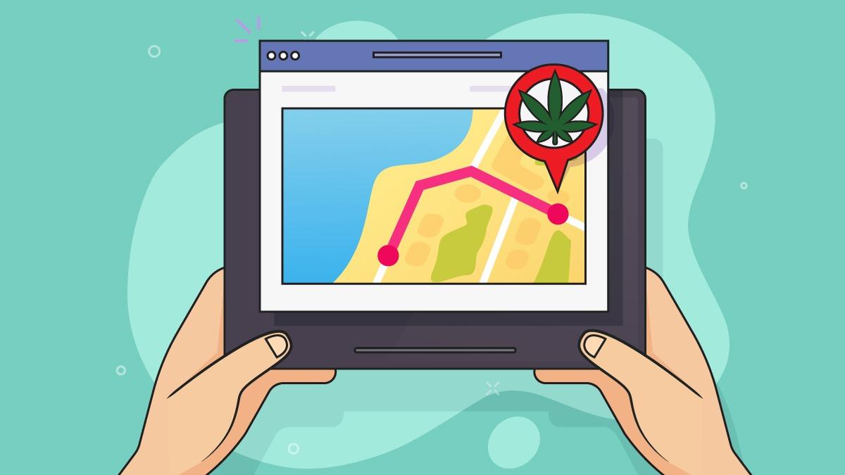 illustration of marijuana dispensary on GPS
