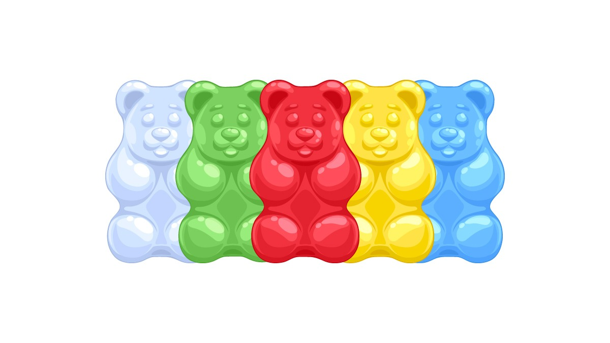 illustration of colorful CBD gummy bears in white background