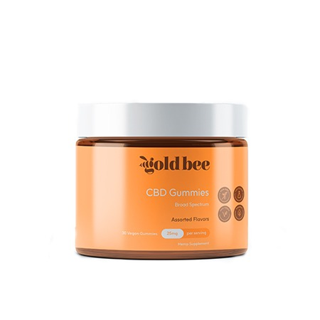 Gold Bee 25mg CBD gummies on white background