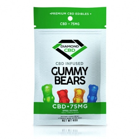Diamond CBD gummies 75mg package in whtie background