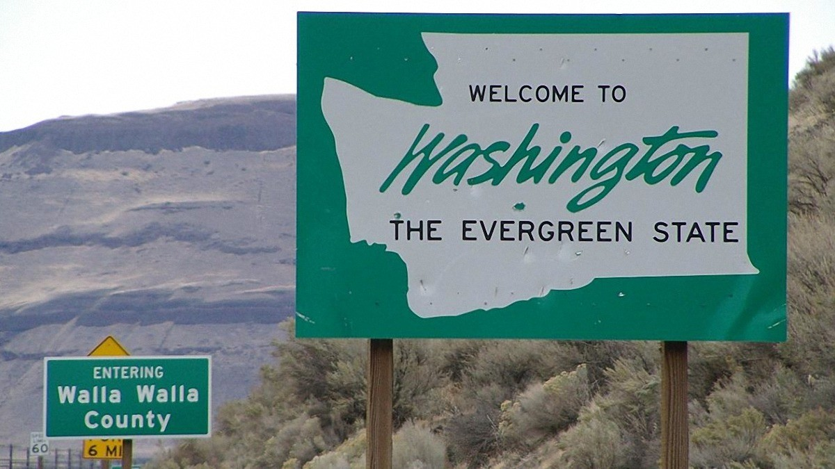 Washingon State welcome sign