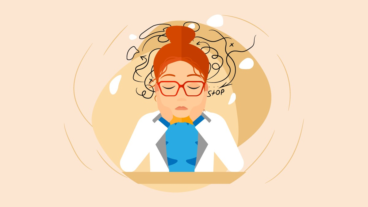 Illustration of a women having anxiety
