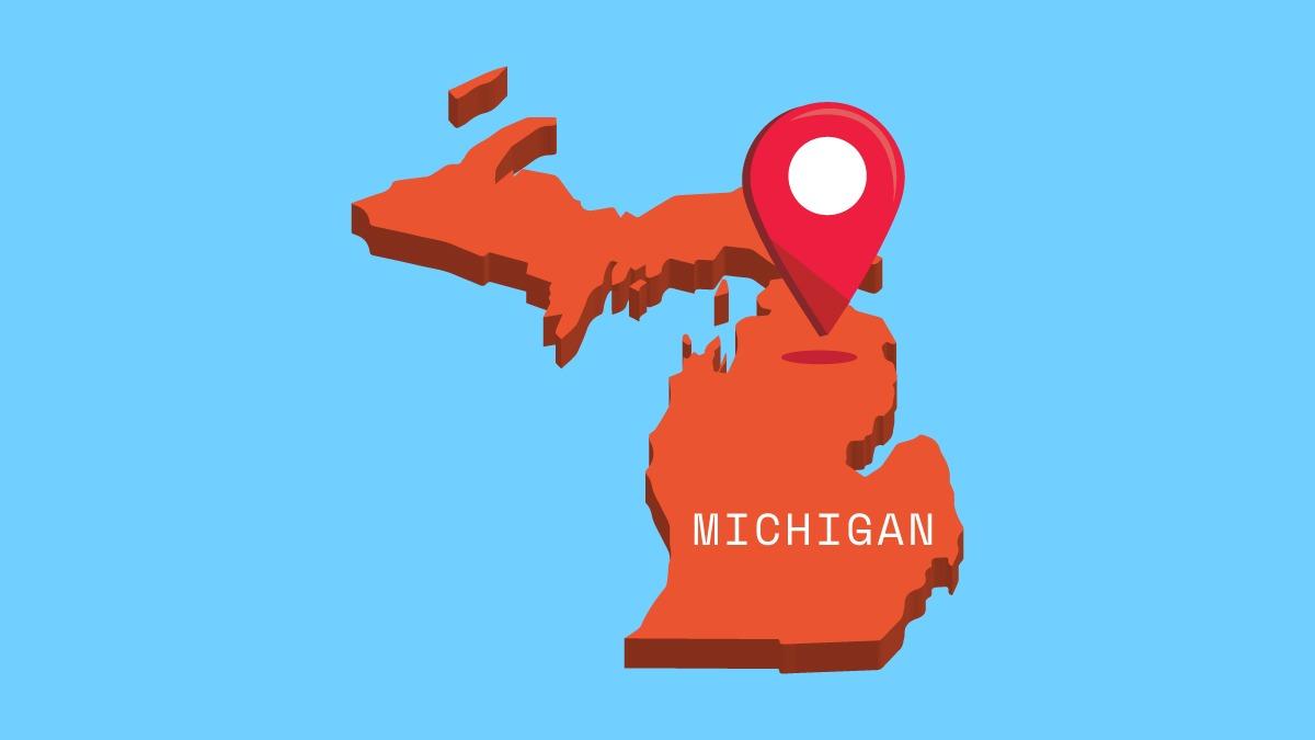 illustration of Michigan map