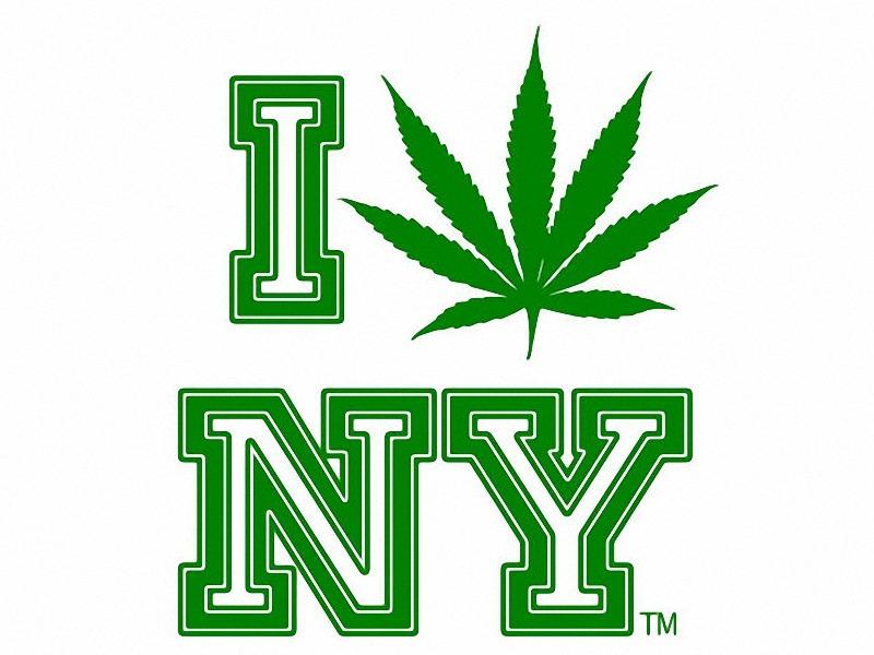 I love new york illustration cannabis leaf