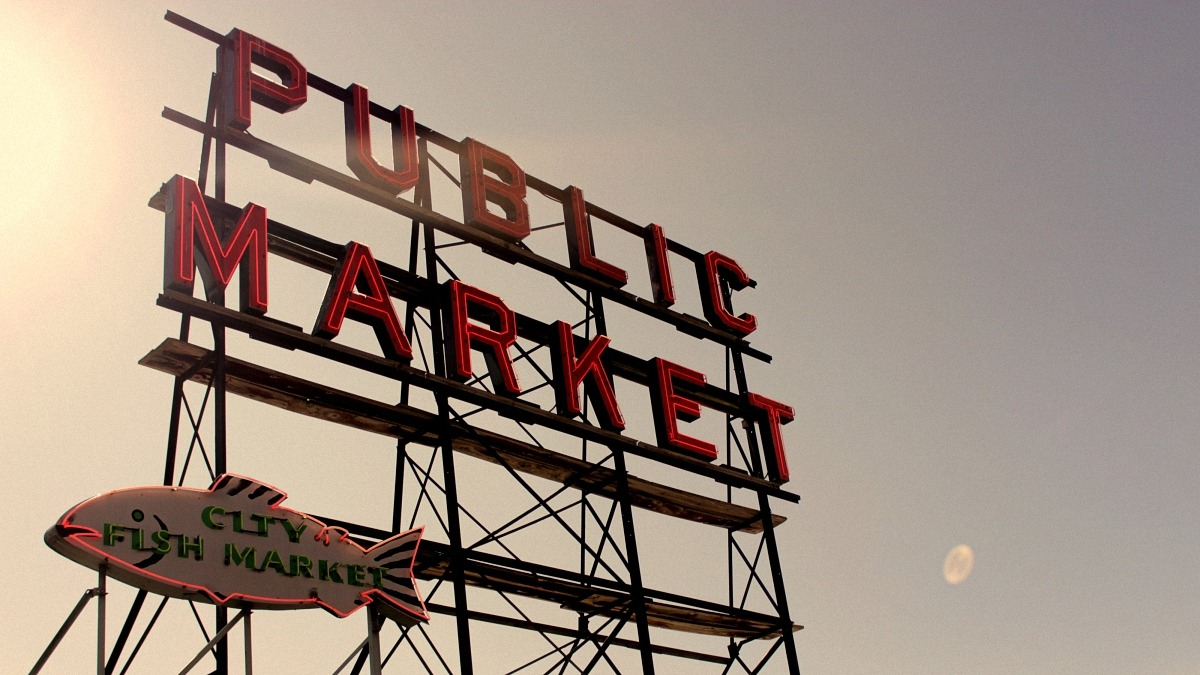 Public market in seattle image