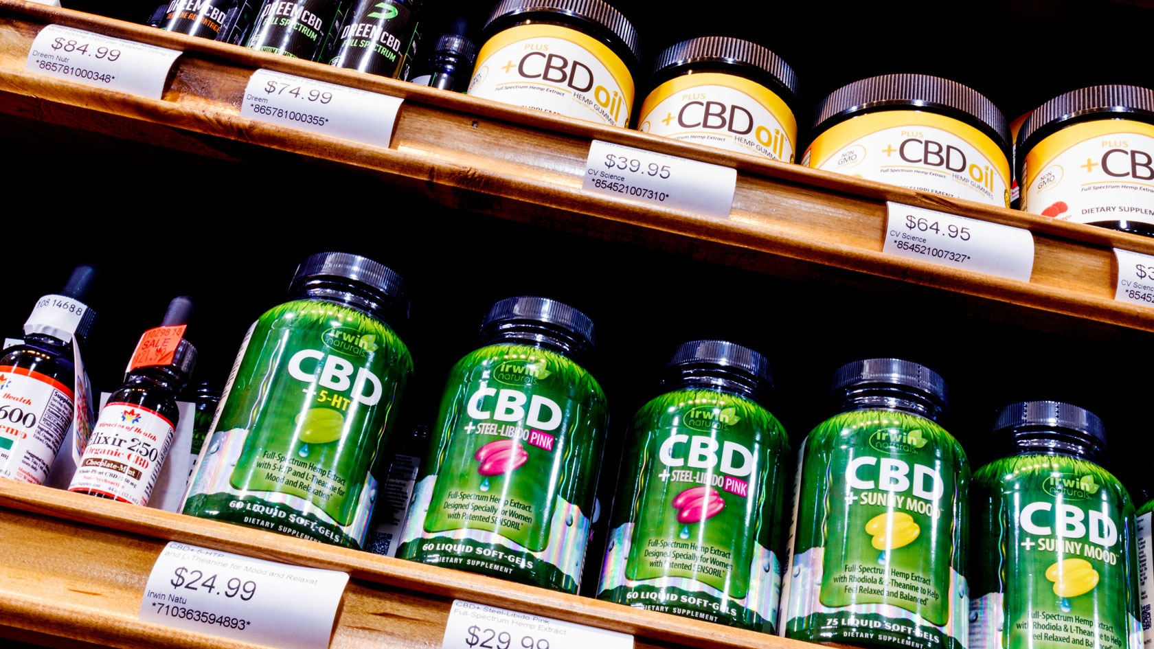 cbd oil in georgia on a shelf of a cbd shop