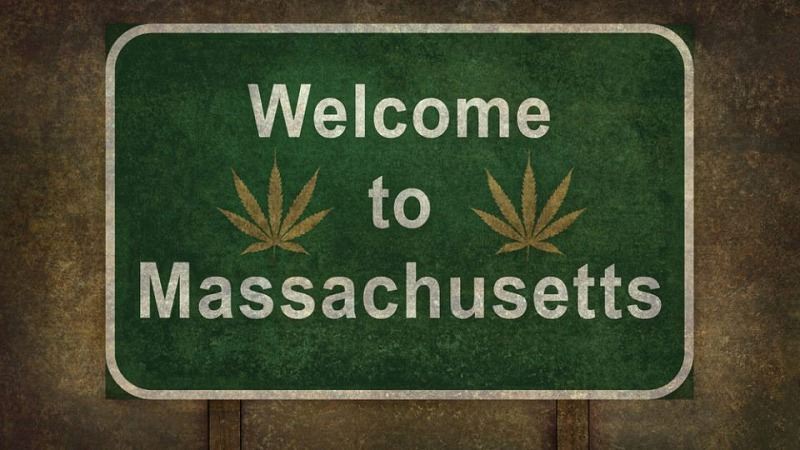 welcome to massachusetts road sign with hemp leaves icon