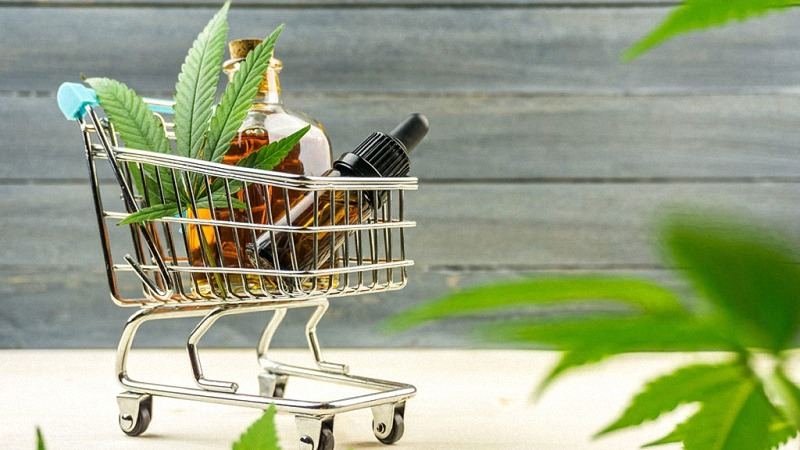 Tiny shopping cart with cbd and hemp oil products