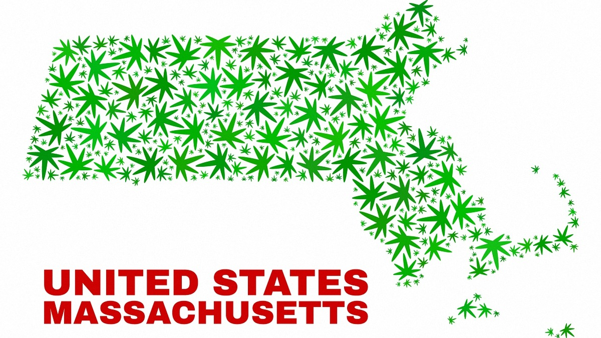 Vector cannabis Massachusetts State map mosaic. Concept with green weed leaves for weed legalize campaign. Vector Massachusetts State map is constructed with weed leaves.