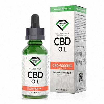Diamond cbd bottle and cover in a white background