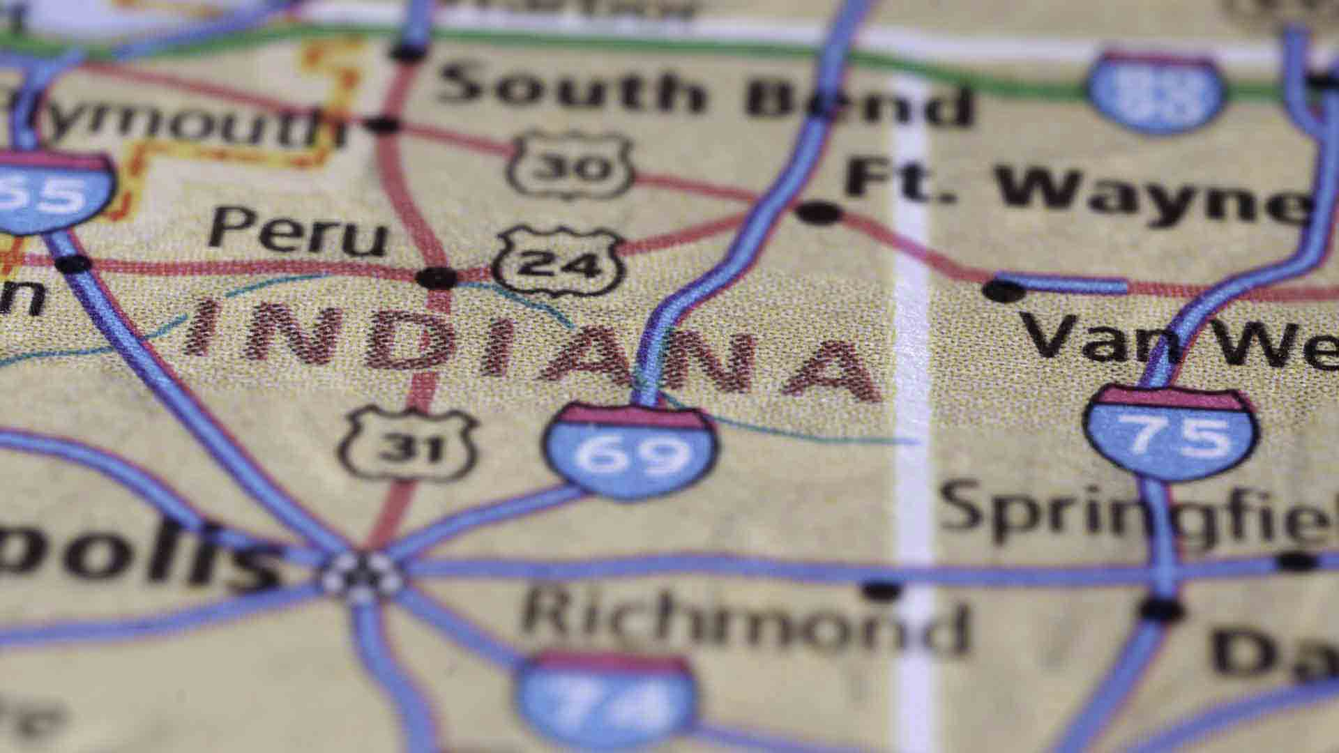 Indiana state and cities on a paper map