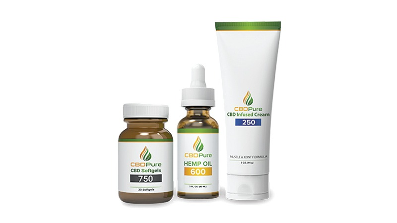 cbdpure products on white background