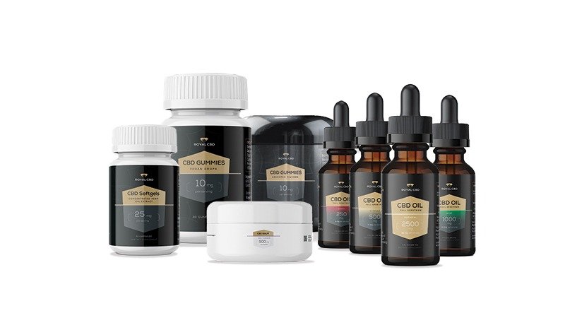 royal cbd products on white background