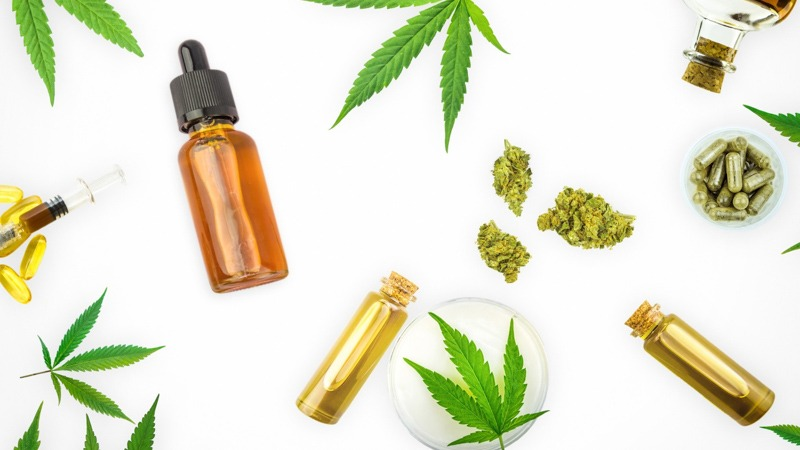 cbd products variation on white background