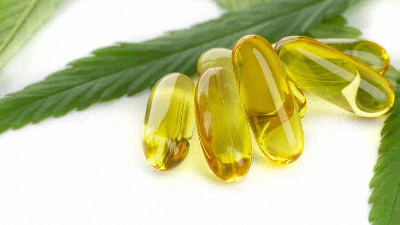 CBD Capsules with Hemp Leaves in White Background