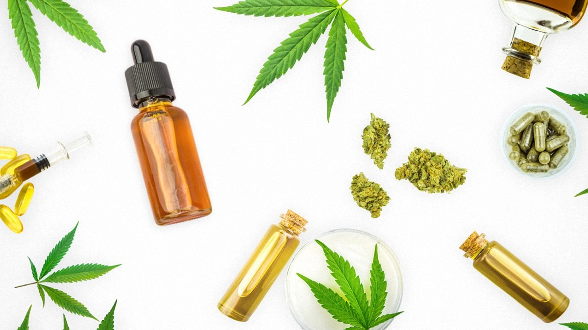 CBD Products with Hemp Leaves in White Background