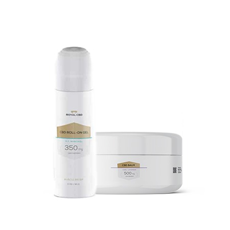 RoyalCBD Topical Balm and Roll on Gel on white background