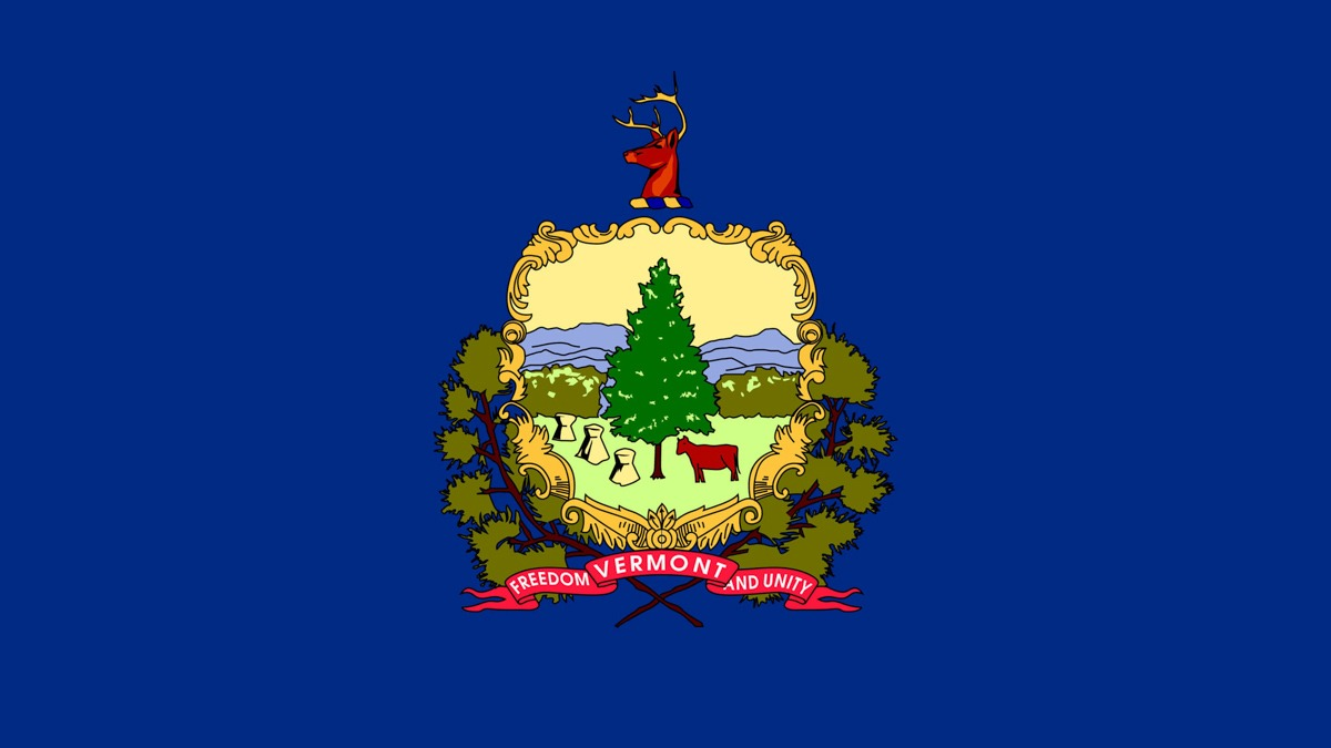 Vermont Flag in Dark Blue Background