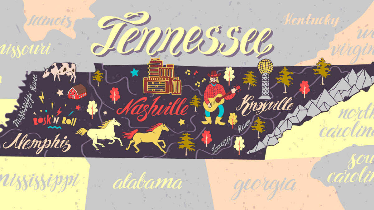 Illustration Map of Tennessee