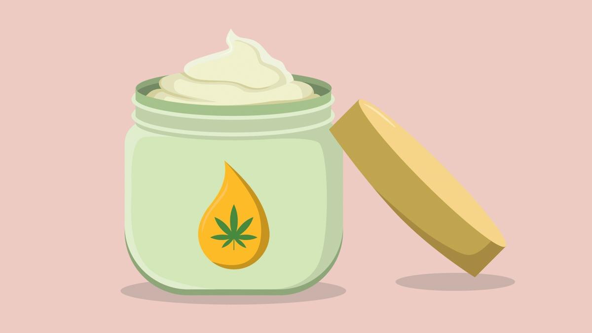 Illustration of CBD Cream in Peach Background
