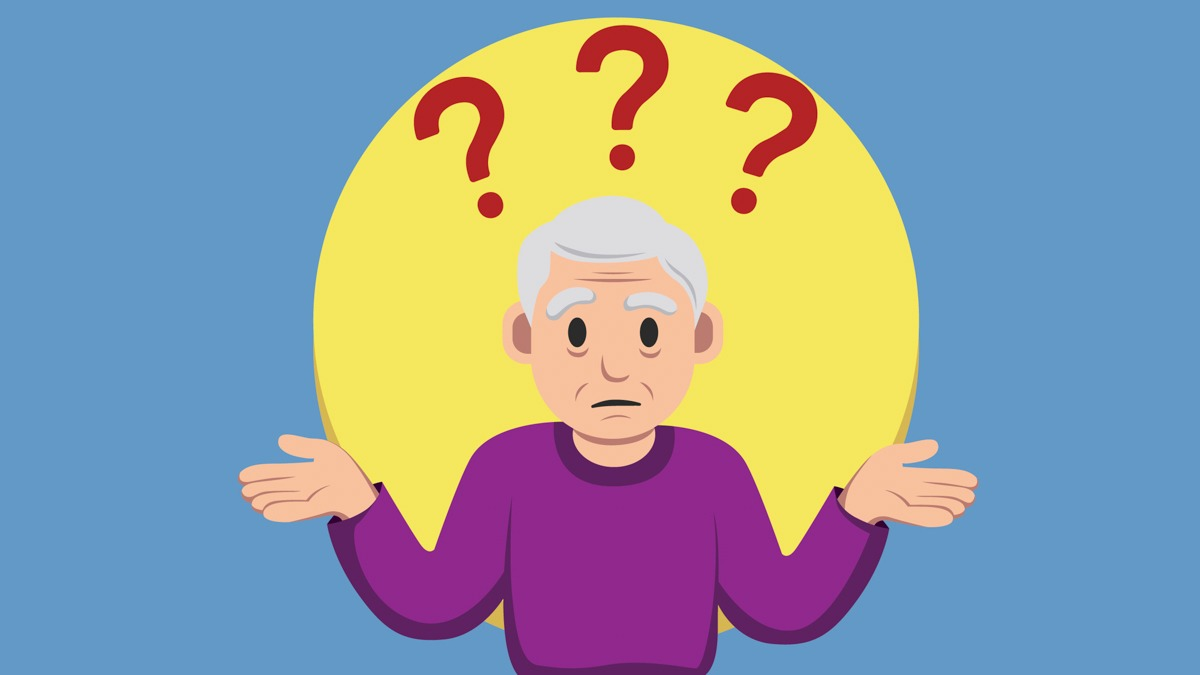 Illustration of an Old Person With Dementia in Blue Background