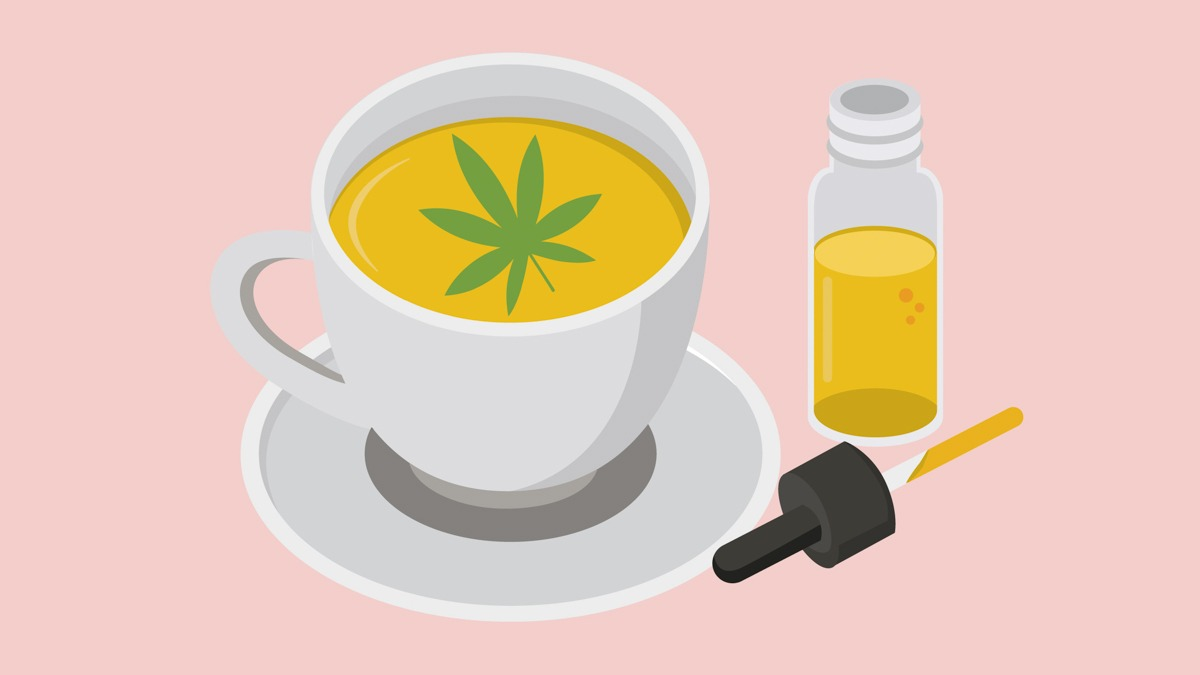 Illustration of CBD Oil with a Cup of Tea with Hemp Leaf on Top
