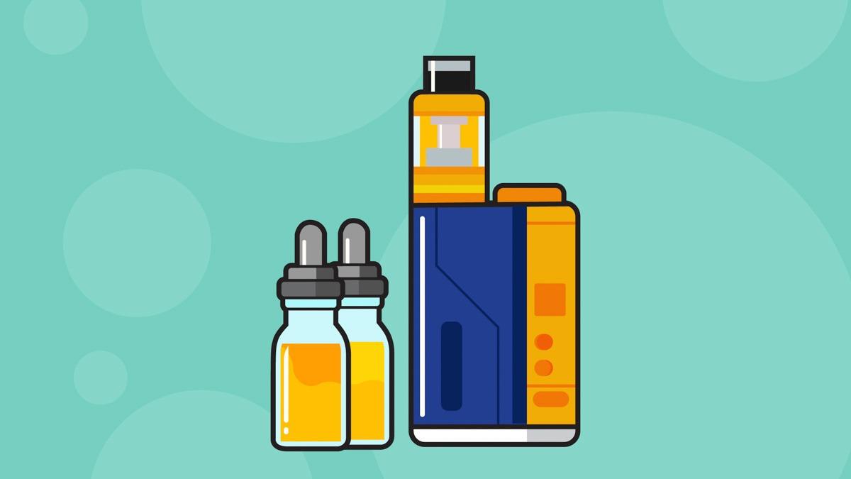 Illustration of vapes and e-liquid