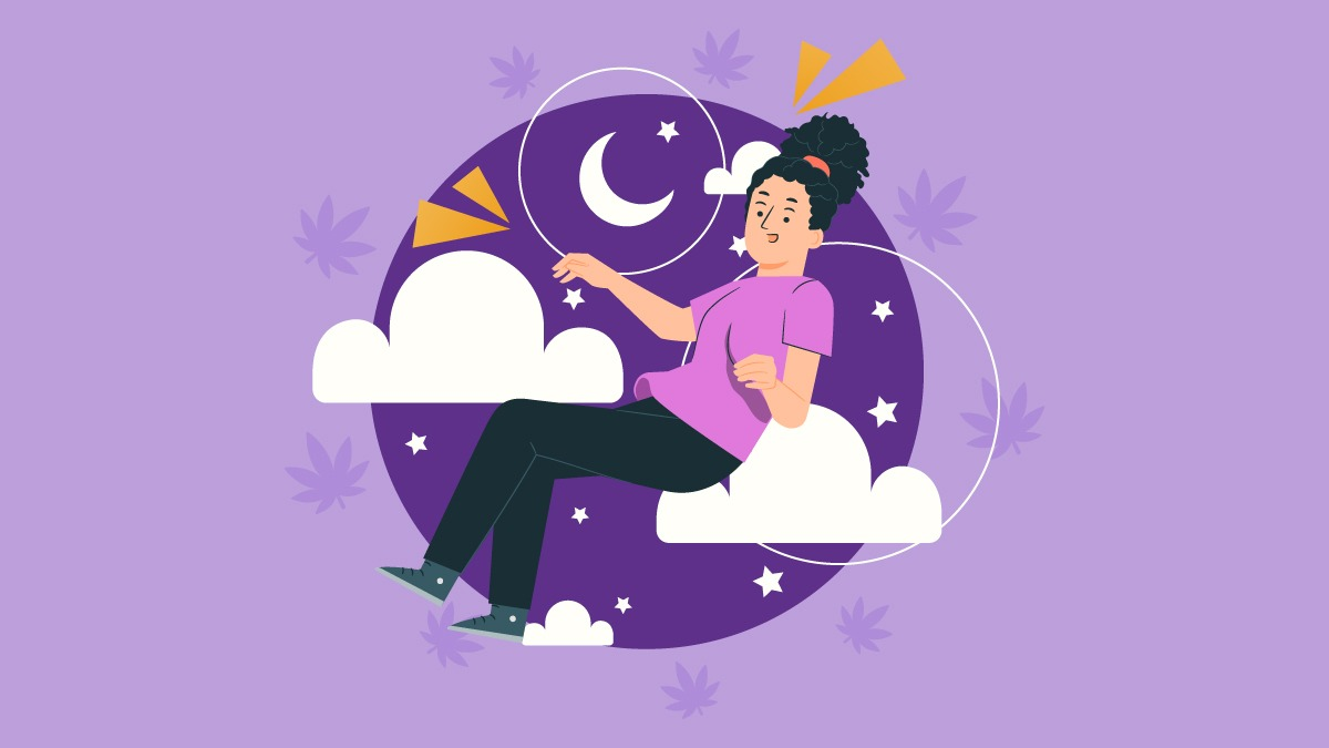 an illustration of a woman feeling the effects of nighttime indica strains