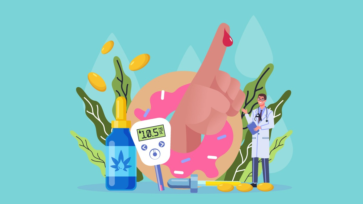 An illustration of CBD oil bottle, a hand tested for diabetes, a blood sugar test checker, and a doctor