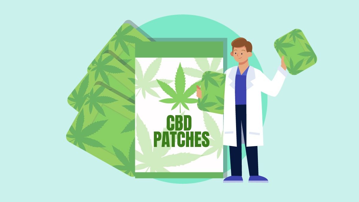 An illustration of a CBD patches and a doctor holding it