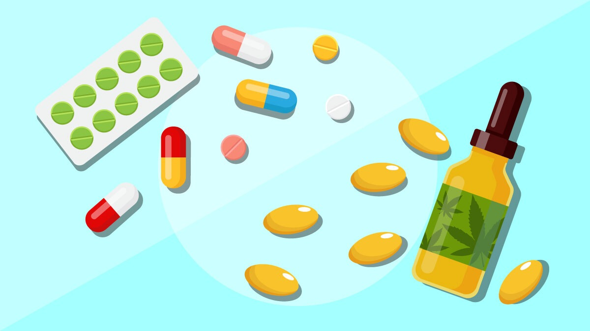 Illustrations of different kinds of medications and a bottle of CBD oil